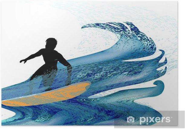 Plakat Sylwetka surfer na fali burzliwych - Sporty indywidualne