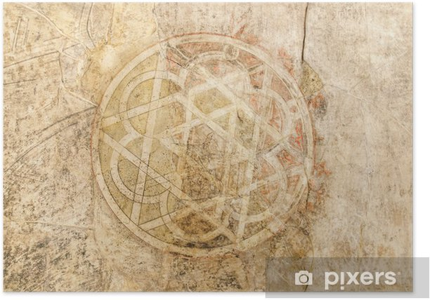 Plakat Symbol starożytny arabski malowane na ścianie - Europa