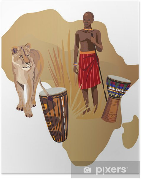 Plakát Symboly Afriky - Afrika
