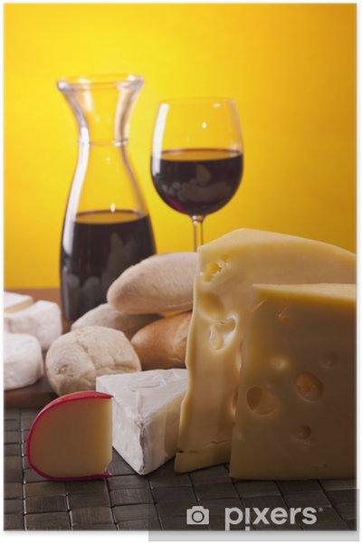 Plakát Sýry a víno složení - Sýry