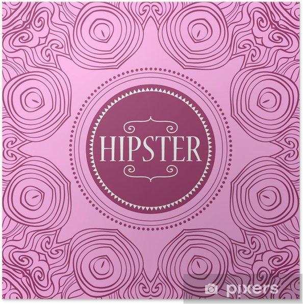 Plakat Szablon karty hipster dekoracyjne ramki - Znaki i symbole