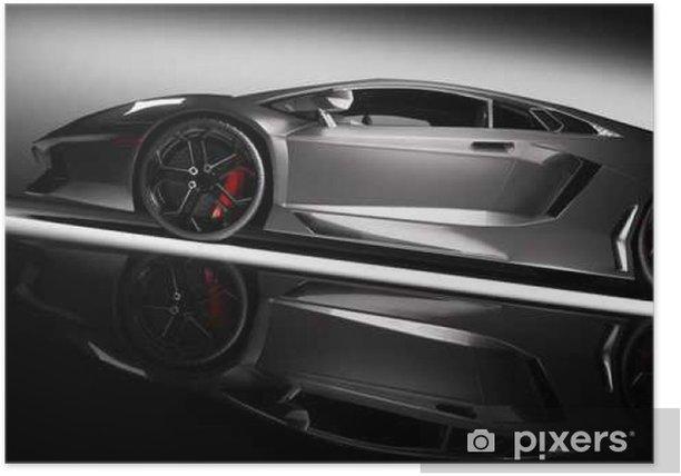 Plakat Szary samochód szybki sportowy w świetle reflektorów, czarne tło. Błyszczące, nowe, luksusowe. - Transport