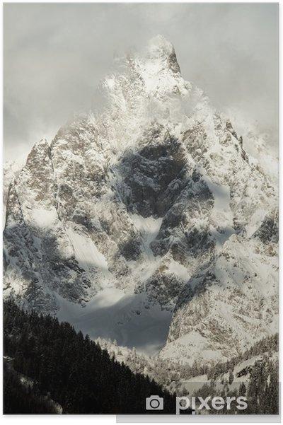 Plakat Szczegół widoku masyw Mont Blanc z Courmayeur - Pory roku