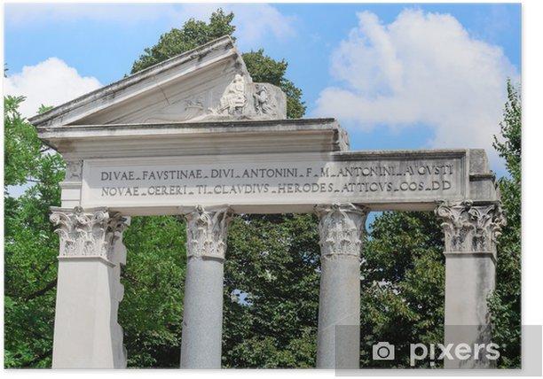 Plakat Szczegóły elewacji rzymskiej świątyni - Miasta europejskie
