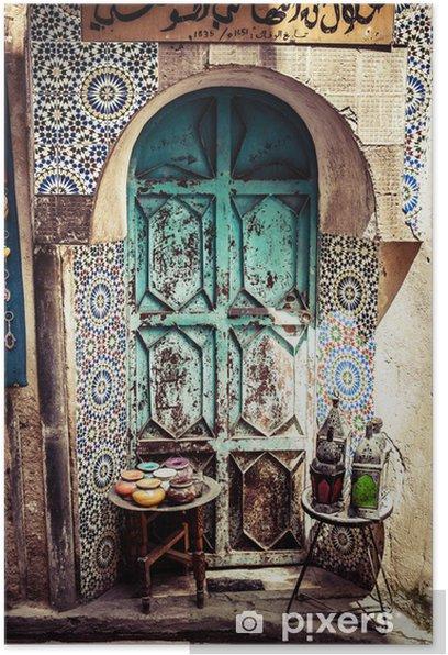 Plakat Szczegóły pięknej dekoracji mozaika płytki, Fez, Maroko - Afryka