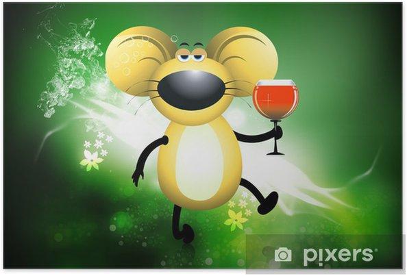 059a3027049fa5 Plakat Szczur trzyma kieliszek wina wypełnione • Pixers® • Żyjemy by ...