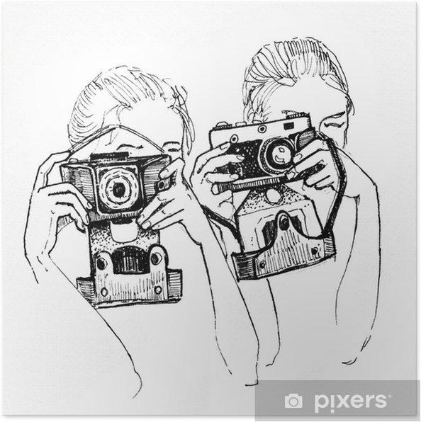 Plakat Szkic dwóch dziewczyn z kamerami - Hobby i rozrywka