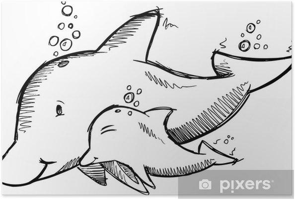 Plakat Szkic słodkie delfiny - Zwierzęta żyjące pod wodą