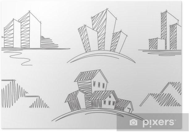 Plakat Szkice budynków - Budynki prywatne