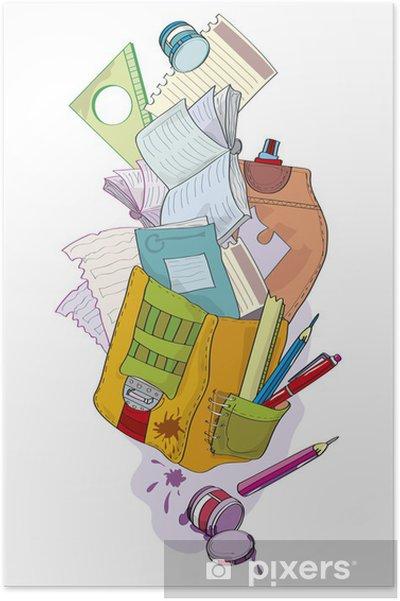 Plakat Szkoła Teczka Z Notebooka Ilustracja