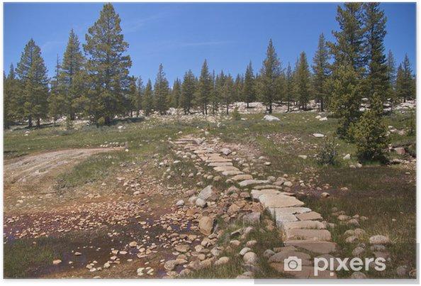 Plakat Szlak przez Soda Springs, zimna wodę w stanie, Yosemite NP - Ameryka