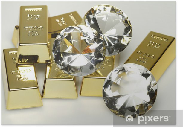 Plakat Sztabki złota i diamenty - Znaki i symbole