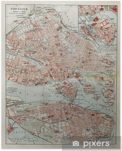 Plakat Sztokholm old map - Tematy