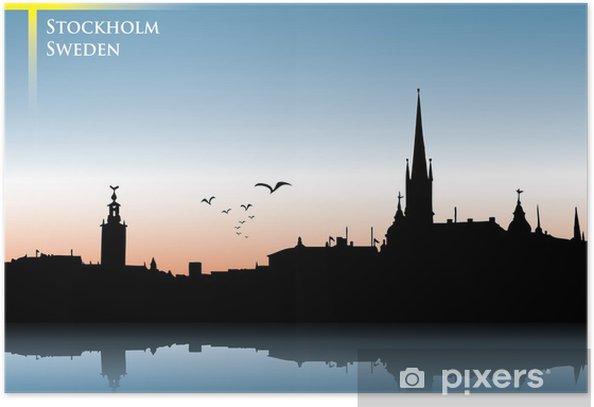 Plakat Sztokholm skyline w tle - Europa