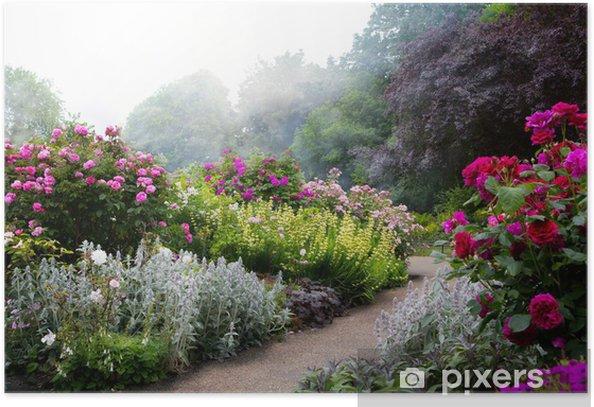 Plakat Sztuki kwiaty rano w angielskiej parku -