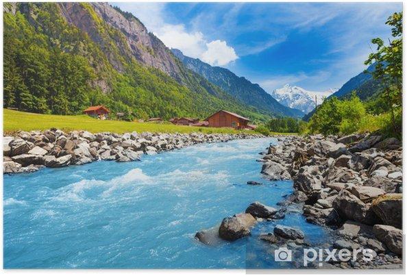 Plakat Szwajcarski krajobraz z rzeki strumienia i domy - Tematy