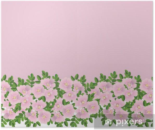 Plakat Szwu Z Różowe Kwiaty Dzikiej Róży Granica Druku