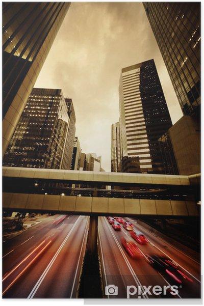 Plakat Szybko poruszające się samochody w nocy - Transport drogowy