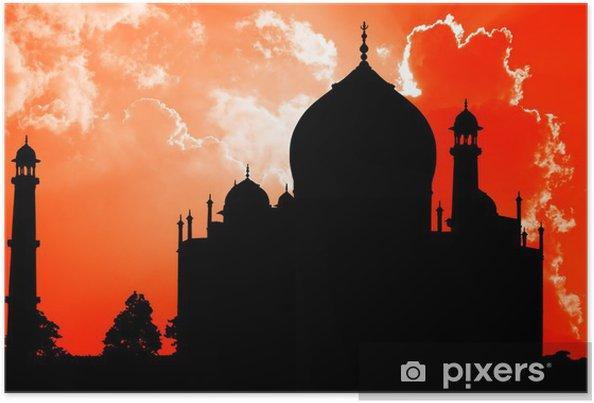 Plakat Taj Mahal, sylwetka, Agra, Indie - Azja