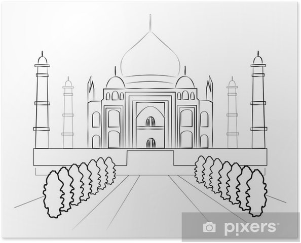 Plakát Taj Mahal vektor skica - Asie