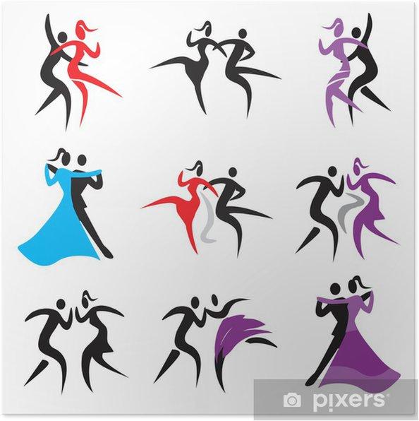 Plakát Taneční ikony .__ Sada ikon s páry tančí moderní, klasické a disco dance. Vektor k dispozici .__ - Zábava