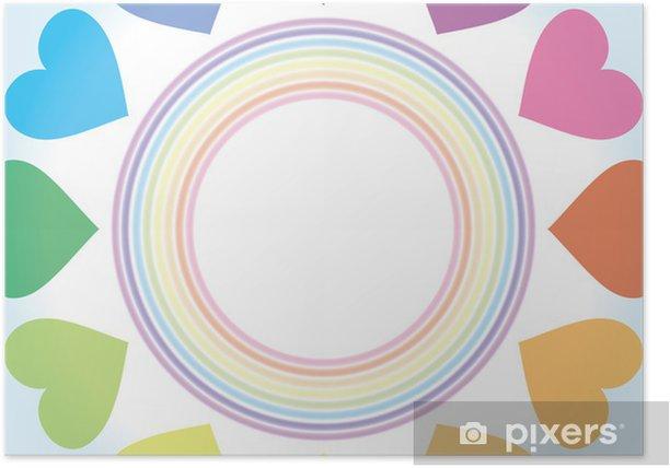Plakat Tapety tła (Rainbow serce Rainbow Niji-Shoku siedem kolorów, projekt Serce, pastelowych kolorów) - Tła