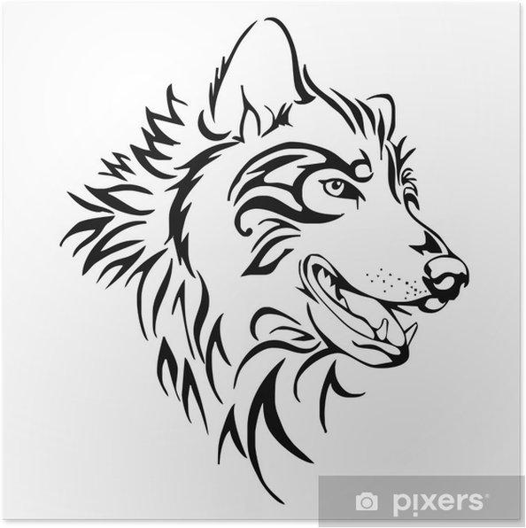 Plakat Tatuaż Wilk Głowy Izolować