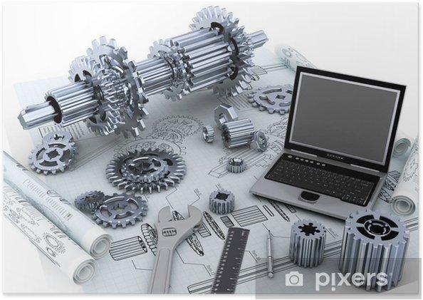 Plakat Technologia inżynieria mechaniczna koncepcja - Maszyny