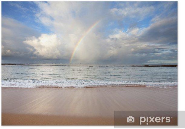 Plakat Tęcza na plaży - Wakacje