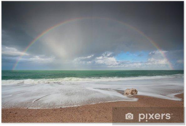 Plakat Tęcza nad Oceanem Atlantyckim fale na wybrzeżu - Niebo