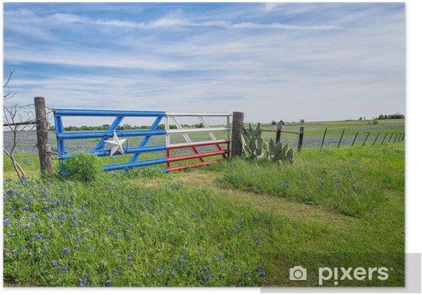 Plakat Teksas bluebonnet pola i ogrodzenia z bramą na wiosnę - Pory roku