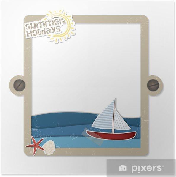 Plakat Tekst i zdjęcia miejsce - etykieta plaża scrapbooking - Wakacje