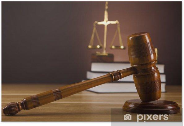 Plakat Temat prawa, młotek sędziego, drewniany młotek - Sprawiedliwość