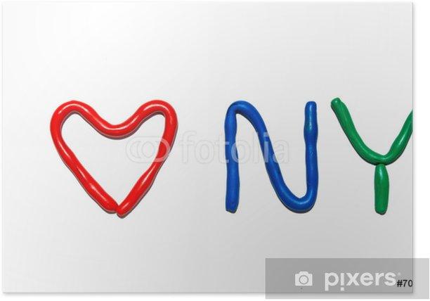 Plakát Text I LOVE NY z plastelíny - Značky a symboly
