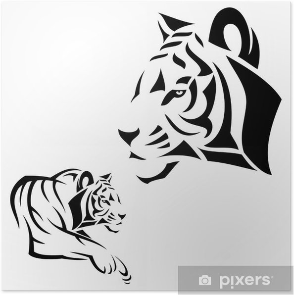 Plakat Tiger tattoo - Ssaki