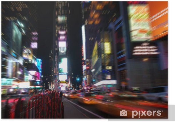 Plakat Time Square w nocy w Nowym Jorku - Miasta amerykańskie