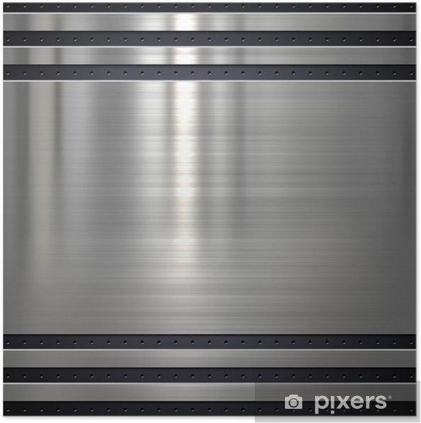 Plakat Tło lub tekstury metalu z otworami - Surowce