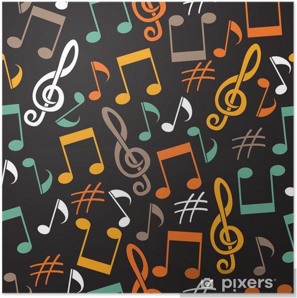 Plakat Tło muzyczne z notatek - Tła