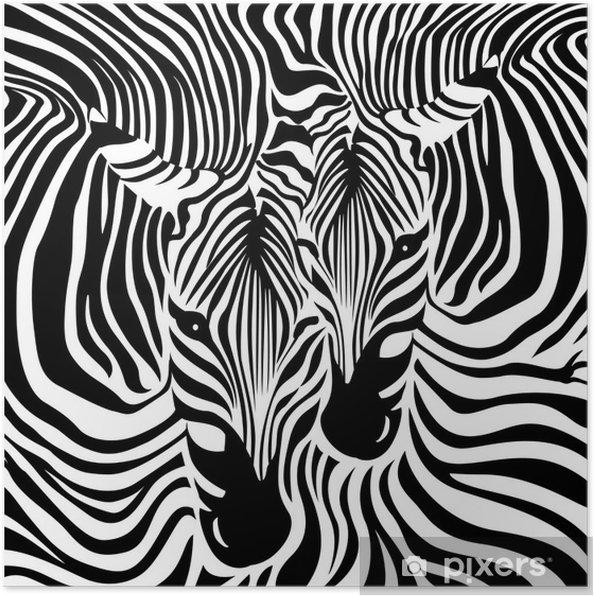 Plakat Tło Para Zebra Czarno Biały Ilustracji Wektorowych Tekstury Skóry Zwierząt Wydruku