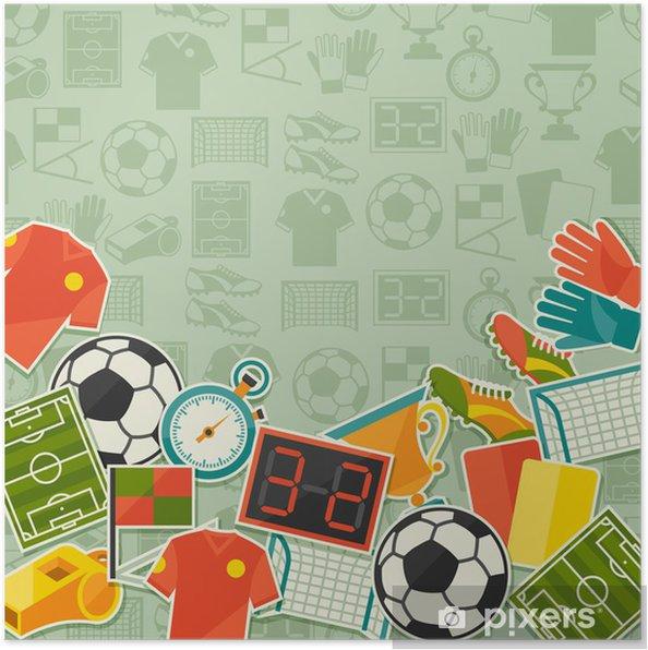 Plakat Tło Sportowe Z Piłki Nożnej Piłka Nożna Naklejki Ikon
