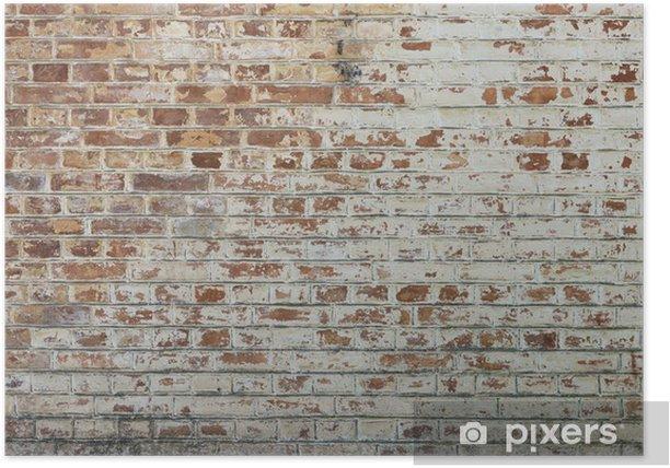 Plakat Tło starego rocznika brudne ściany z cegły z peelingiem gipsu - Tematy
