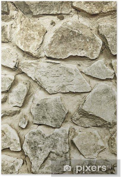 Plakat Tło tekstury ścian z kamienia - Tekstury