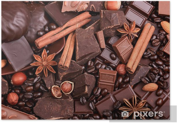 Plakat Tło z kawałkami czekolady, kawy, orzechów i przypraw - Tematy