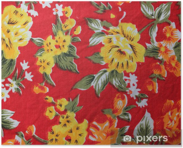Plakat Tło z tkanin drukowanych z żółtymi kwiatami - Święta Narodowe