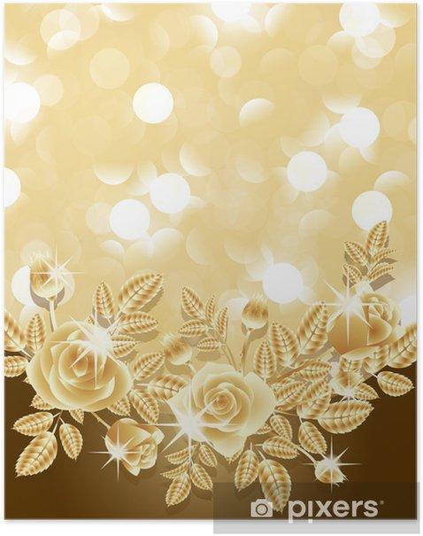 Plakat Tło ze złotymi różami. ilustracji wektorowych - Tła