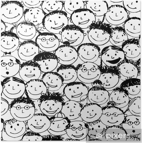 Plakat Tłum dziwnych ludzi, bezszwowe tło dla swojego projektu - Tła
