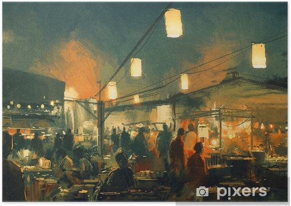 Plakat Tłum ludzi chodzących na rynku w nocy, malarstwo cyfrowe - Budynki i architektura