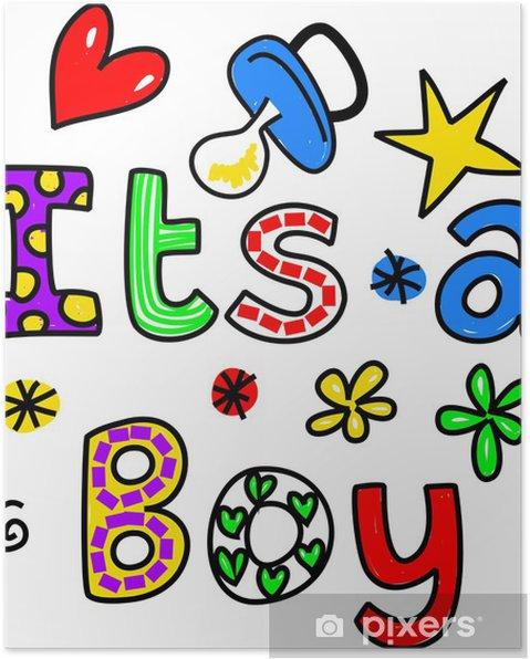 Plakat To chłopiec clipartów kreskówka tekst - Przeznaczenia