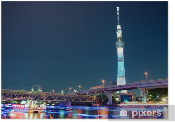 Plakat Tokio skytree niebieskie podświetlenie obok rzeki Sumida - Tematy