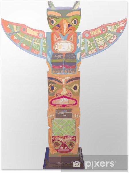 Plakát Totem Amérindien tout en vecteur - Amerika